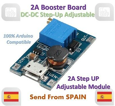 2A Booster Board Micro USB DC-DC Step-up 2/24V to 5/9/12/28V Replace XL6009