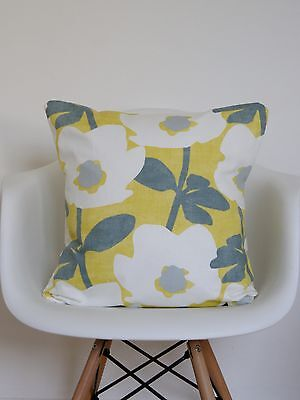 "YELLOW and GREY CUSHION COVERS 18""SAFFRON PRESTIGIOUS BERMONDSEY SCANDI MUSTARD"
