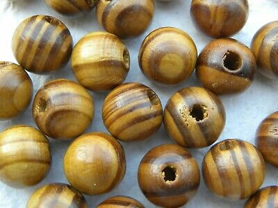 30 16mm x 15mm Hand Made Varnished Natural Pattern Wooden Beads with Hole