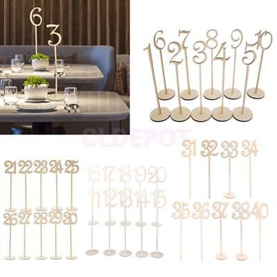 Wooden Table Number Sticks Stand Base Holder French Font Wedding Birthday Decor