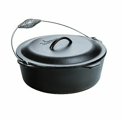 Lodge L12DO3 9 Qt. Pre-Seasoned Cast Iron Dutch Oven w/Bail Handle  Made in USA