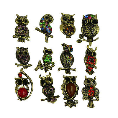 12pcs Vintage Bronze Colorful Rhinestone Wedding Bridal Party Owl Brooch Pin