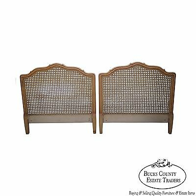 Vintage Pair of French Louis XV Style Cane Back Twin Headboards