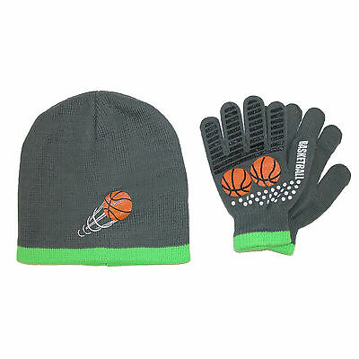 New Grand Sierra Kids' 4-12 Sports Beanie Hat and Glove Winter Set
