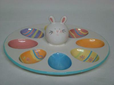 Blossoms and Blooms Easter Egg Dish Plate with Rabbit