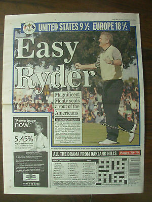 DAILY MAIL SEPTEMBER 20th 2004 RYDER CUP THRASHING EUROPE 18.5 - U.S.A. 9.5