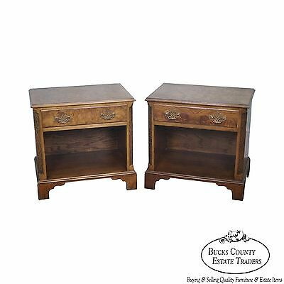 Baker Pair of Burl Walnut Chippendale Style Nightstands