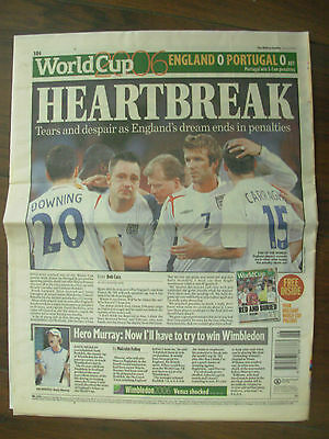Football World Cup 2006 - Daily Mail - Heartbreak As England Lose On Penalties