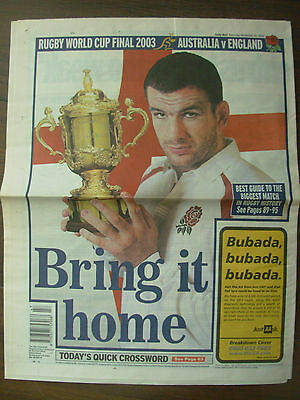 DAILY MAIL NOVEMBER 22nd 2003 ENGLAND v AUSTRALIA RUGBY WORLD CUP FINAL PREVIEW