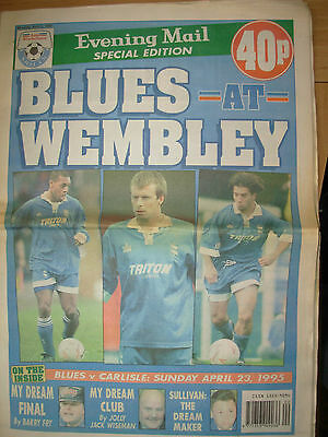 BIRMINGHAM EVENING MAIL SPECIAL EDITION BLUES AT WEMBLEY 1995 v CARLISLE