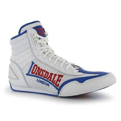 Lonsdale Contender Low Boxing Boots Kids Mens Shoes - White - Blue