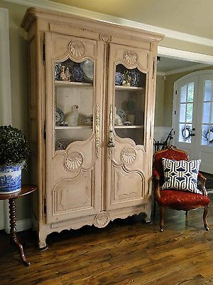 Antique French Country Wardrobe Armoire Painted Off White Carving 1800's