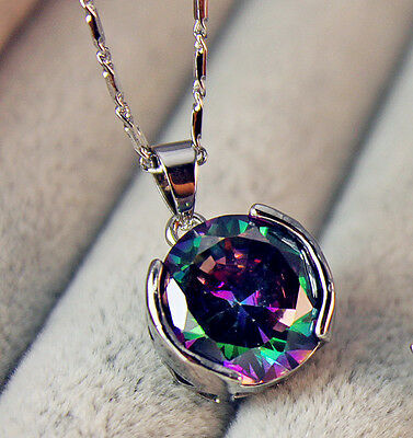 18K White Gold Filled- 12MM MYSTICAL Rainbow Topaz Round Pendant Women Necklace