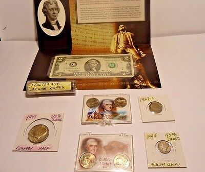 Collectible  Coin Lot $2 Bill Roll Steel Wheat Pennies And More