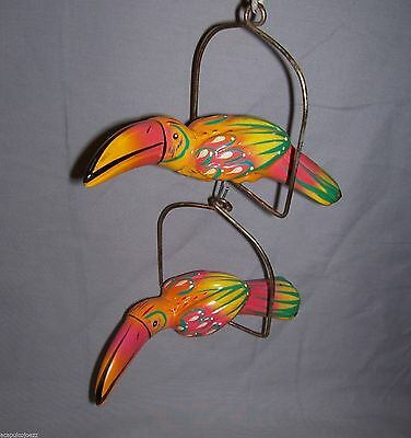 Two Ceramic Pottery Talavera Swing Hanging Bird Patio PARROT #W200