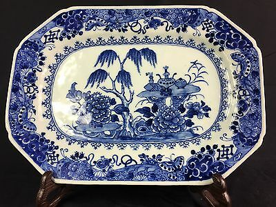 Antique Chinese Blue And White Meat Plate 18Th Century Qianlong Period