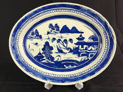 Antique Chinese Blue And White Plate Early 19Th Century