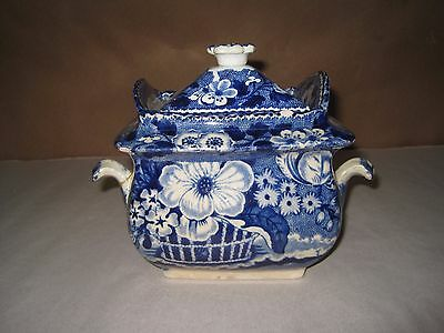 Antique Adams Sugar Bowl With Lid Blue & White Basket Of Flowers