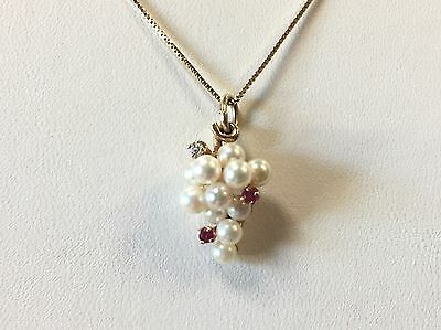 14k Yellow Gold Pearl Grape Vine Cluster Pendant w/ Ruby Diamond Accents
