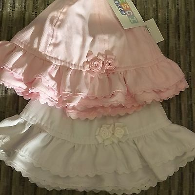 Sun Hat Baby Girls Sun Hat White Pink Roses Bow Frilly Summer 0-3 3-6 Months