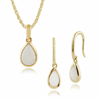 Gemondo 9ct Yellow Gold Opal Pear Shaped Drop Earrings & 45cm Necklace Set