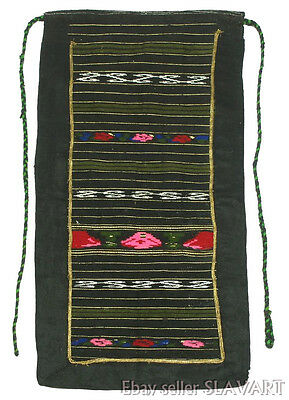 ANTIQUE Bulgarian folk costume apron hand-woven wool ethnic floral peasant art