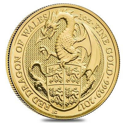2017 Great Britain 1 oz Gold Queen's Beast (Red Dragon) Coin .9999 Fine BU