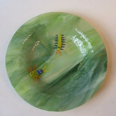 Art Glass Bowl Dish with Applied Insects Ladybug Caterpillar Signed D Cox