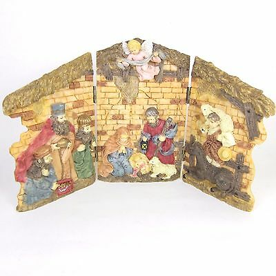 Christmas Nativity Resin Panels Triptych Hinged Holiday Decoration Manger Scene