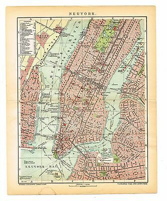 NEW YORK   Map City Plan  ORIGINAL PRINT  NEUYORK  MANHATTAN dated 1905