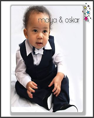 106037929 BABY BOY SUIT Gentleman Navy Outfit Smart Party Birthday Baptism ...