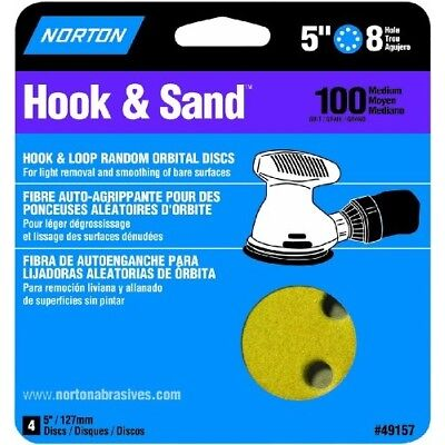 Norton 49157 8-Hole 100 Grit Hook and Loop Sanding Disc, 5-Inch, 4-Pack