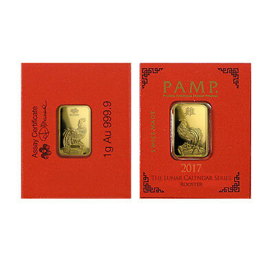 1 gram Gold Bar - PAMP Suisse Lunar Rooster .9999 Fine (In Assay from Multigram+