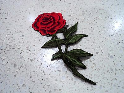 New Red Rose Flower Embroidered Patch - Applique Badge - Iron-on / Sew On