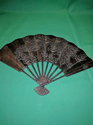 Antique Ornate Bronze Folding Fan Decorative Crafts Inc. Hand Crafted Numbered