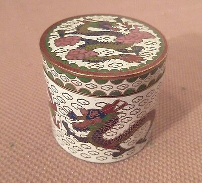 vintage handmade Chinese enamel brass dragon pill trinket dresser box jar