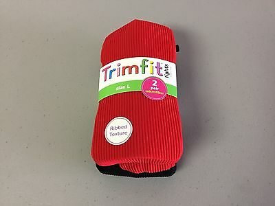 NWT Girl's Trimfit Ribbed Texture Tights Size Large Red/Black 2 Pair #119R