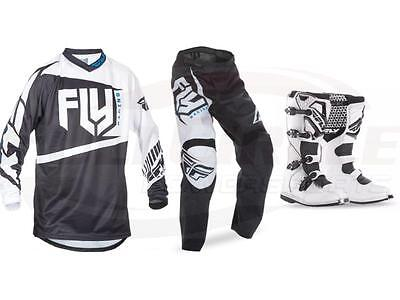 Fly Racing Black White F-16 Jersey Pant Boots Combo Set MX/ATV Moto Riding Gear