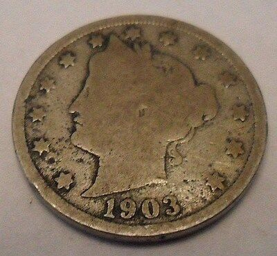 "1903 P Liberty Head ""v"" Nickel  **free Shipping**"