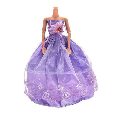 1 Pcs Wedding Dress Princess Gown for Barbies Purple Clothes for Kids Doll   SN