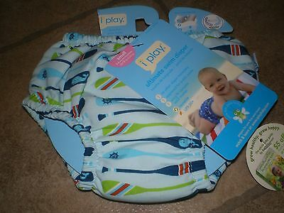 i play Boys Baby Swim Diaper Reusable Washable Nautical Whale Size Small 3-6 Mon