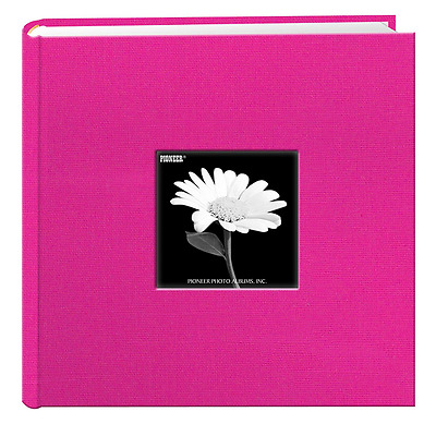 Fabric Frame Cover Photo Album 200 Pockets Hold 4x6 Photos, Bright Pink