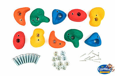 Set of 15 Resin Bolt On Climbing Frame Rock Wall Grab Holds Grip Med 80mm Stones
