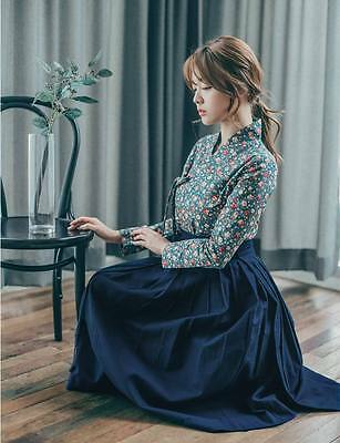 Hanbok Traditional Korean Dress (navy) Bridesmaid Evening Formal Party Dress
