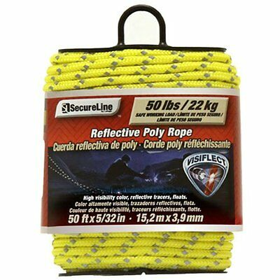 Lehigh RMFPY3250 5/32-Inch by 50-Feet Reflective Polypropylene Rope, Yellow
