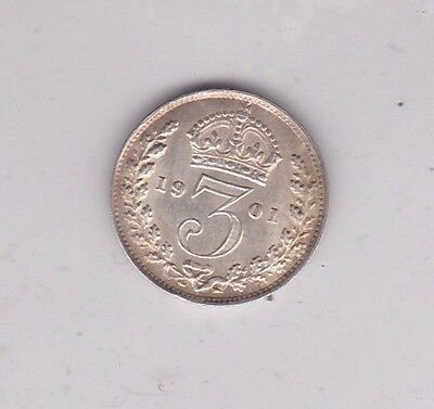 1901 Silver Threepence In Extremely Fine Condition