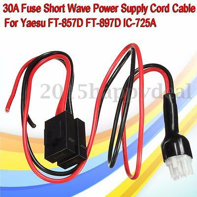 1x For Yaesu FT-857D FT-897D IC-725A 30A Fuse Short Wave Power Supply Cord Cable