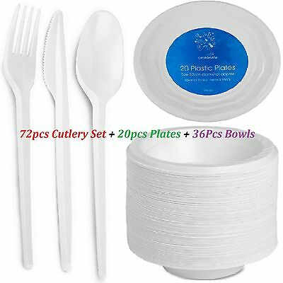 72Pcs Disposable Cutlery Forks Knifes Spoons Platter Bowls Party Dinner Plates