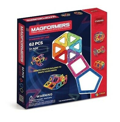 Genuine Authentic NEW MAGFORMERS 62 pieces 3D Magnetic building construction
