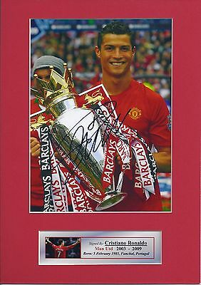 Cristiano Ronaldo Man Utd Signed Photo Mount Display, A4 Re-print